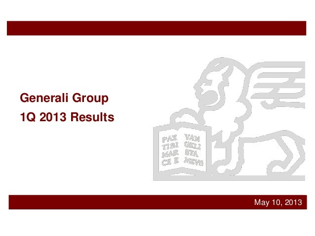 May 10, 2013Generali Group1Q 2013 Results
