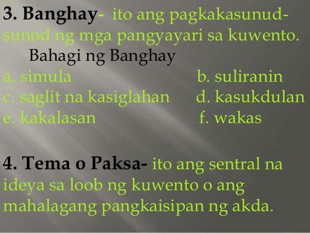 kuwento ng katutubong kulay Nangingibabaw sa maikling kwento ang paglalarawan sa isang pook, sa anyo ng kalikasan doon at ang uri ng pag-uugali, paniniwala, pamumuhay, pananamit at pagsasalita ng mga taong naninirahan.