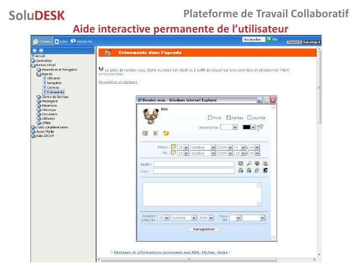 Plateforme de Travail Collaboratif Aide interactive permanente de l'utilisateur