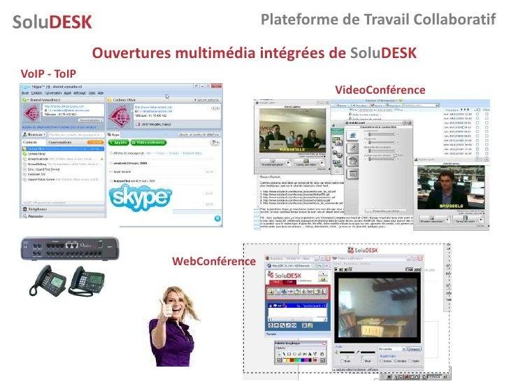 Plateforme de Travail Collaboratif               Ouvertures multimédia intégrées de SoluDESK VoIP - ToIP                  ...