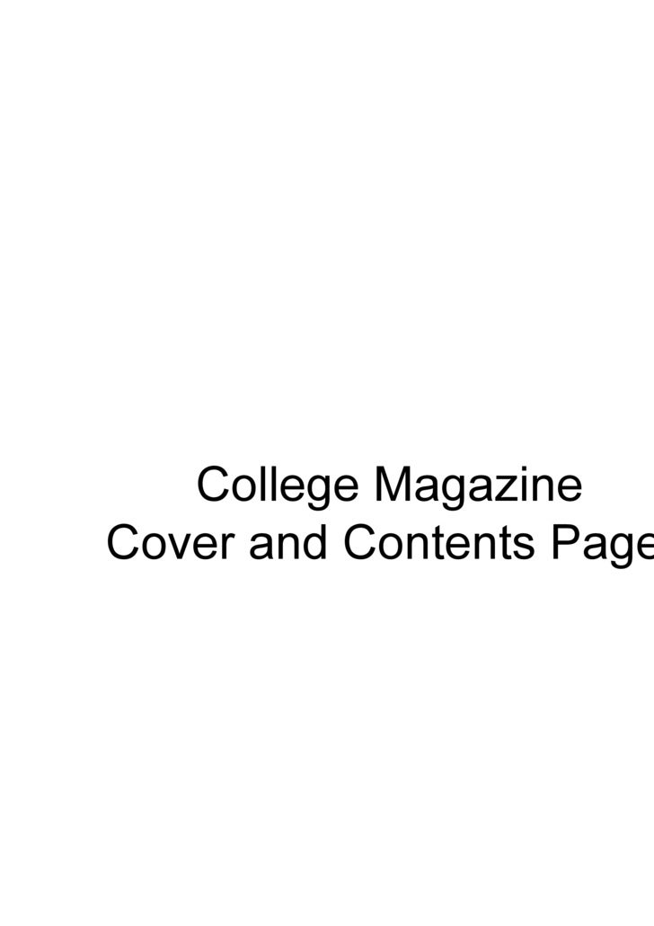 College Magazine  Cover and Contents Pages