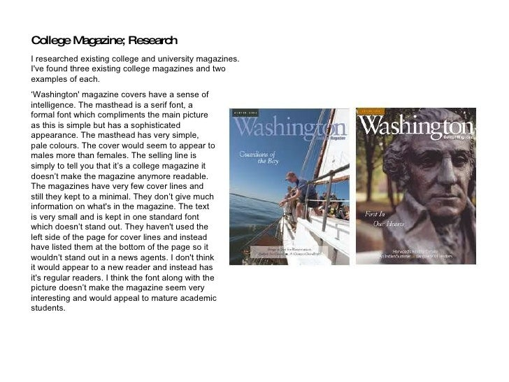 ' Washington' magazine covers have a sense of intelligence. The masthead is a serif font, a formal font which compliments ...
