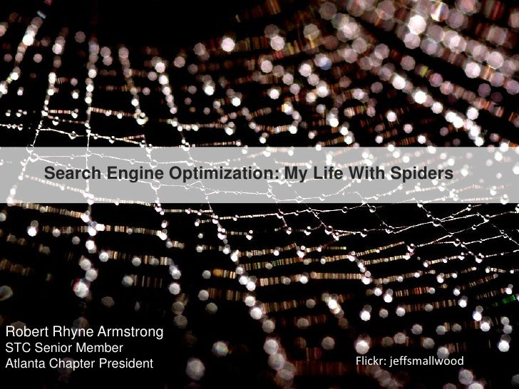 Search Engine Optimization: My Life With Spiders<br />Robert Rhyne Armstrong<br />STC Senior Member <br />Atlanta Chapter ...
