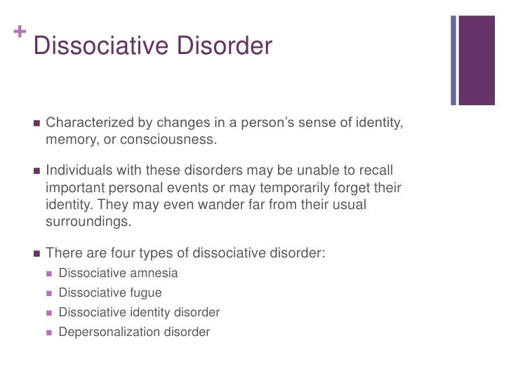 dissociative disorder What is dissociation dissociation is a mental process that causes a lack of connection in a person's thoughts, memory and sense of identity.
