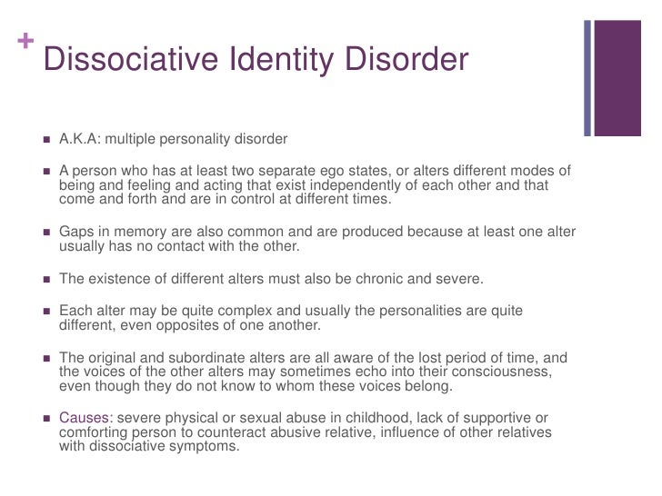 "multiple personality disorder movie identity What is dissociative identity disorder although the condition was once called ""multiple personality disorder,"" spiegel was one of the parties movie and."