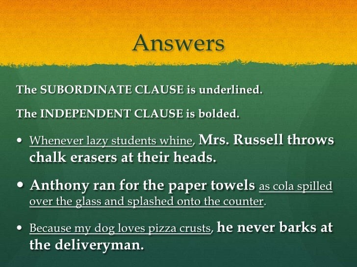Independent and Subordinate Clauses – Independent and Dependent Clauses Worksheets