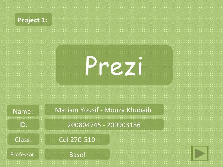 Project 1:                        Prezi Name:         Mariam Yousif - Mouza Khubaib   ID:            200804745 - 200903186...