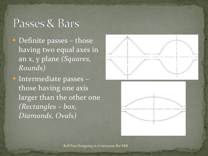 <ul><li>Definite passes – those having two equal axes in an x, y plane  (Squares, Rounds) </li></ul><ul><li>Intermediate p...