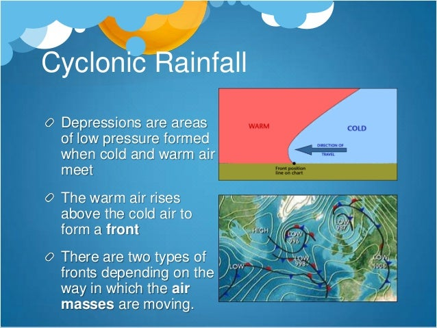 Convectional rainfall                 Common on hot                 summer days inland                 Hot air rises quick...
