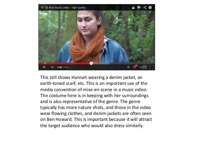 This still shows Hannah wearing a denim jacket, an earth-toned scarf, etc. This is an important use of the media conventio...