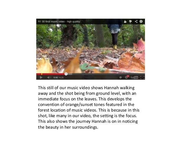 This still of our music video shows Hannah walking away and the shot being from ground level, with an immediate focus on t...