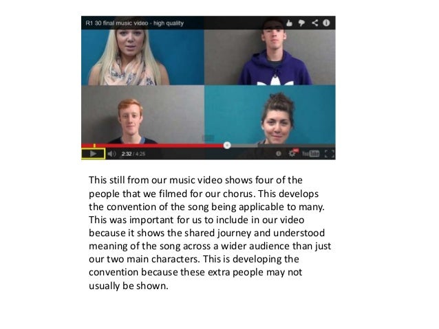 This still from our music video shows four of the people that we filmed for our chorus. This develops the convention of th...