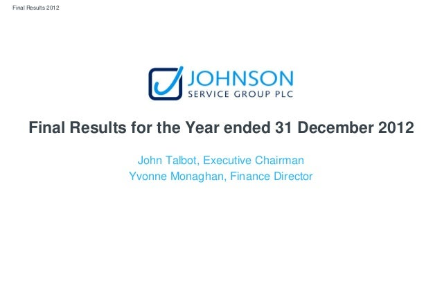 Final Results 2012 Final Results for the Year ended 31 December 2012 John Talbot, Executive Chairman Yvonne Monaghan, Fina...