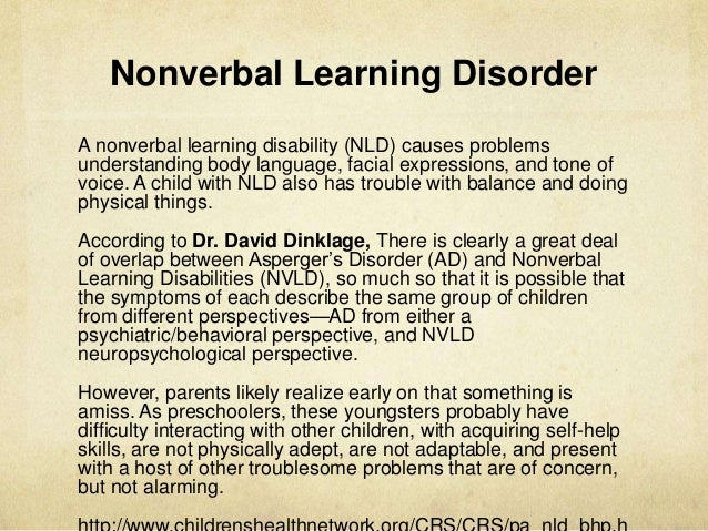 What Is Non Verbal Learning Disorder >> Presentation2