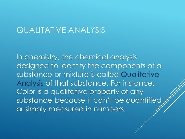 Qualitative And Quantitative Analysis, Empirical And Molecular Formula