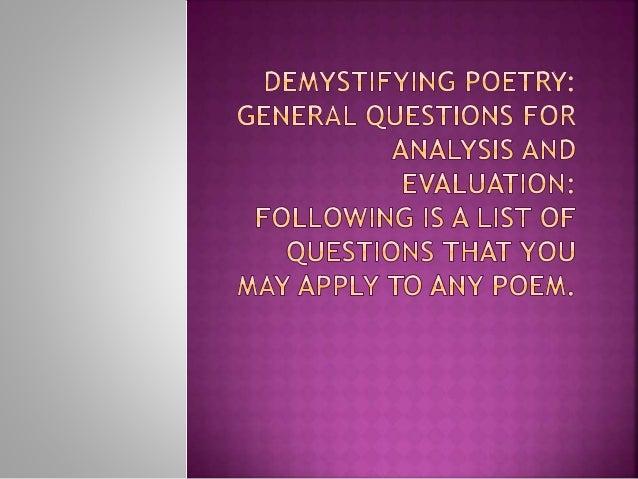 Demistifying Poetry