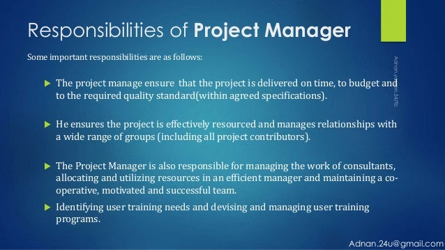 project manager responsibilities View a project manager job description, salary information, and career outlook read interviews from certified project managers.