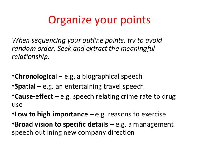 Purchase speech outline