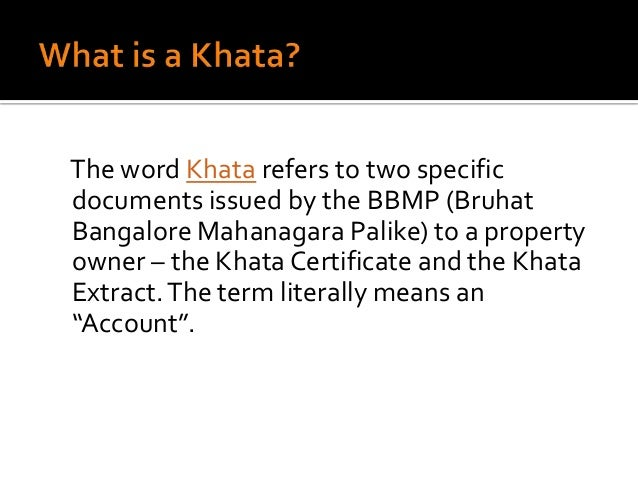 What is khata certificate and khata extract in bangalore 2 yadclub