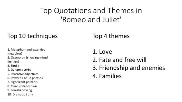 romeo and juliet themes relevant for Extracts from this document introduction discuss how the theme of conflict is presented in 'romeo and juliet' 'romeo and juliet' is a tragedy and therefore it is essential to involve conflict in this case, conflict is the central theme of the whole play, and shakespeare presents it in many different ways for example, not.