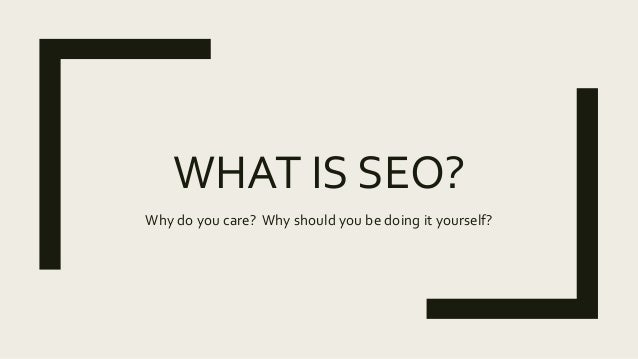 WHAT IS SEO? Why do you care? Why should you be doing it yourself?