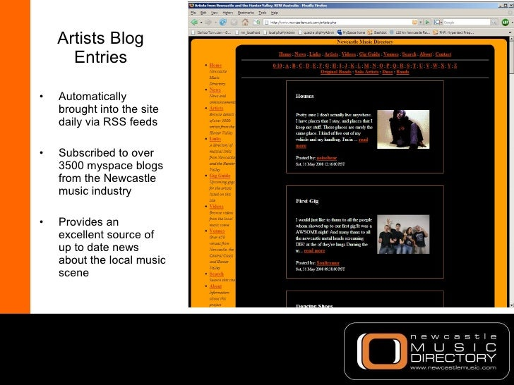 Artists Blog Entries <ul><li>Automatically brought into the site daily via RSS feeds </li></ul><ul><li>Subscribed to over ...