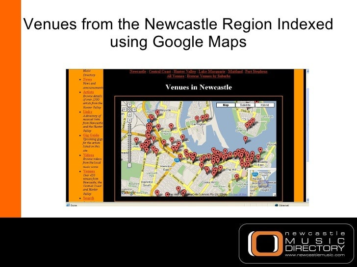 Venues from the Newcastle Region Indexed using Google Maps