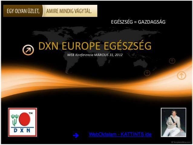 DXN EUROPE EGÉSZSÉGWEB Konferencia MÁRCIUS 31, 2012EGÉSZSÉG = GAZDAGSÁGWebOldalam - KATTINTS ideWebOldalam - KATTINTS ide