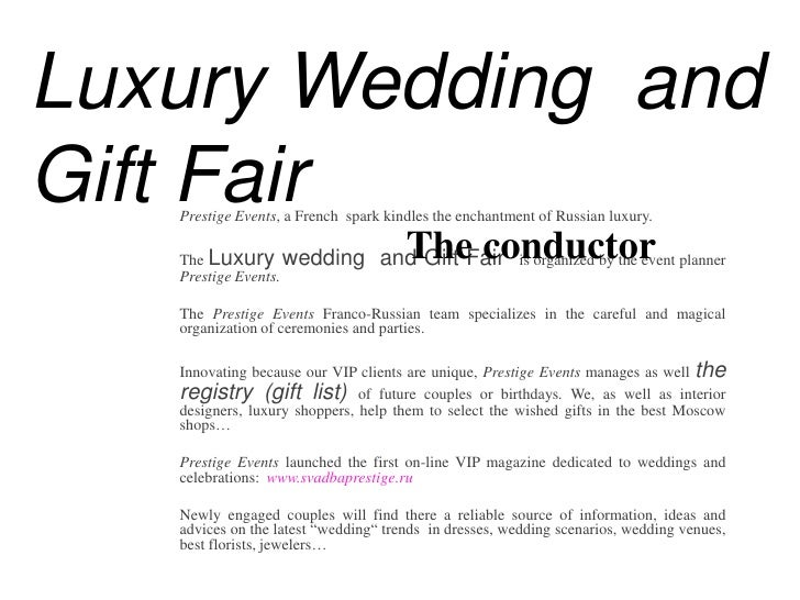 Luxury Wedding Gift Ideas: Presentation 2d Luxury Wedding Gift Fair En