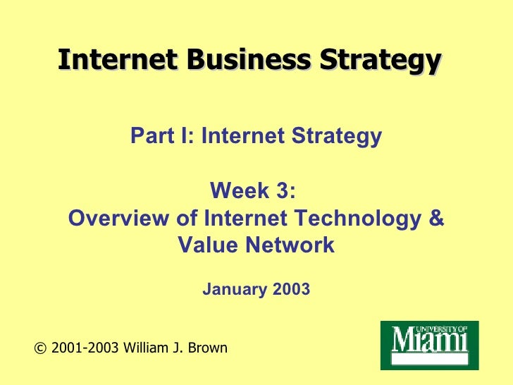 Internet Business Strategy Part I: Internet Strategy Week 3:  Overview of Internet Technology & Value Network January 2003...