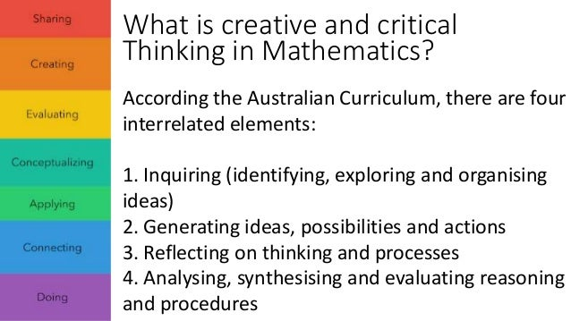 critical thinking in math education Critical thinking can be as much a part of a math class as learning concepts,  computations, formulas, and theorems activities that stimulate.