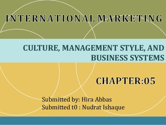 CULTURE, MANAGEMENT STYLE, ANDBUSINESS SYSTEMSSubmitted by: Hira AbbasSubmitted t0 : Nudrat Ishaque
