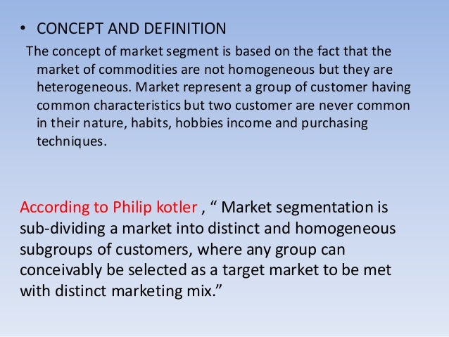 marketing concept and marketing segmentation practice haag