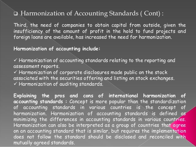 an analysis of the concept of harmonization of international accounting standards The international harmonisation process of accounting standards concept of international accounting and international accounting standards.