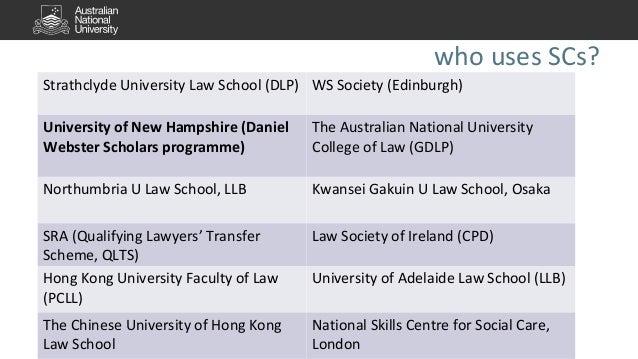 who uses SCs?  Strathclyde University Law School (DLP) WS Society (Edinburgh)  University of New Hampshire (Daniel  Webste...