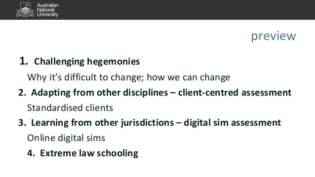 preview  1. Challenging hegemonies  Why it's difficult to change; how we can change  2. Adapting from other disciplines – ...