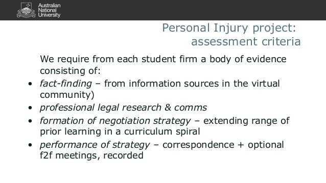 Personal Injury project:  assessment criteria  We require from each student firm a body of evidence  consisting of:  • fac...