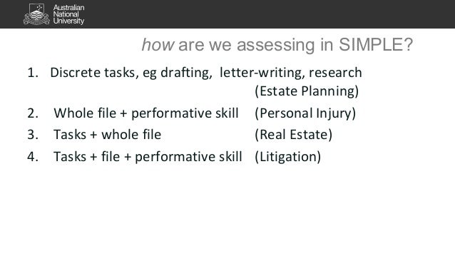 how are we assessing in SIMPLE?  1. Discrete tasks, eg drafting, letter-writing, research  (Estate Planning)  2. Whole fil...
