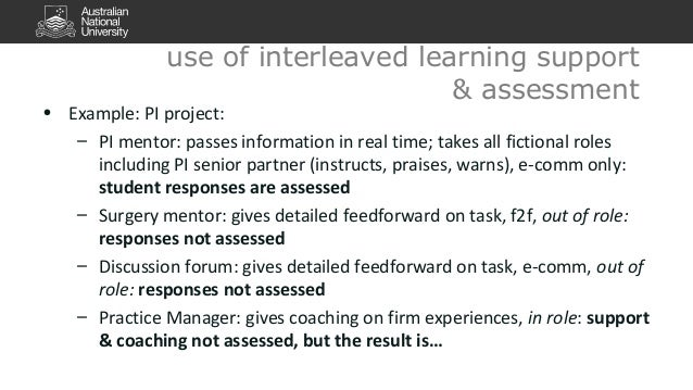 use of interleaved learning support  • Example: PI project:  & assessment  – PI mentor: passes information in real time; t...