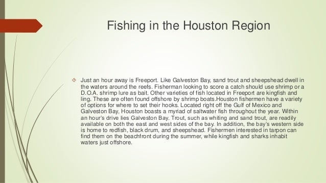 Fishing in the Houston Region  Just an hour away is Freeport. Like Galveston Bay, sand trout and sheepshead dwell in the ...