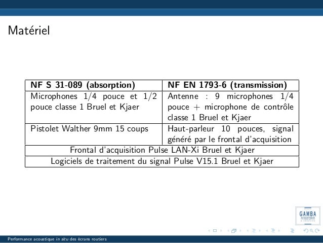 Mat´eriel NF S 31-089 (absorption) NF EN 1793-6 (transmission) Microphones 1/4 pouce et 1/2 pouce classe 1 Bruel et Kjaer ...