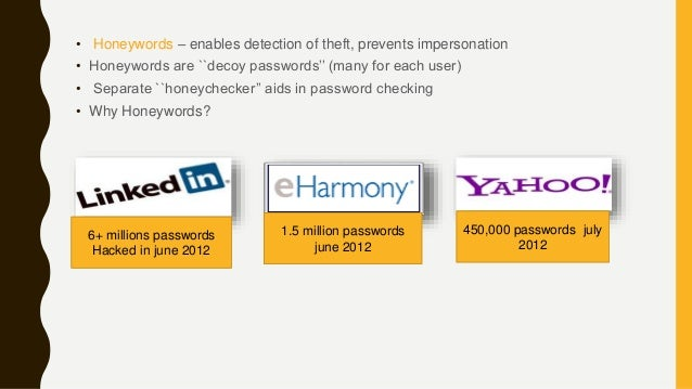 • Honeywords – enables detection of theft, prevents impersonation • Honeywords are ``decoy passwords'' (many for each user...