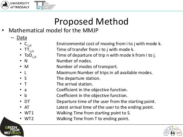 Proposed Method • Mathematical model for the MMJP – Data • Ci,j,k Environmental cost of moving from i to j with mode k. • ...
