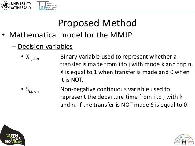 Proposed Method • Mathematical model for the MMJP – Decision variables • Xi,j,k,n Binary Variable used to represent whethe...