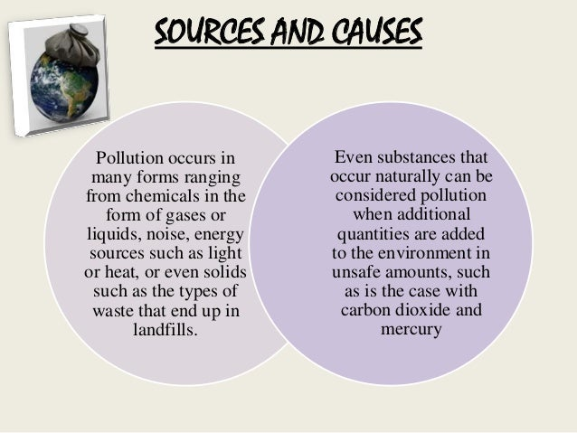 A description of the pollution of the introduction of harmful substances or products into the enviro