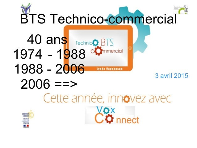 BTS Technico-commercial 40 ans 1974 - 1988 1988 - 2006 2006 ==> 3 avril 2015