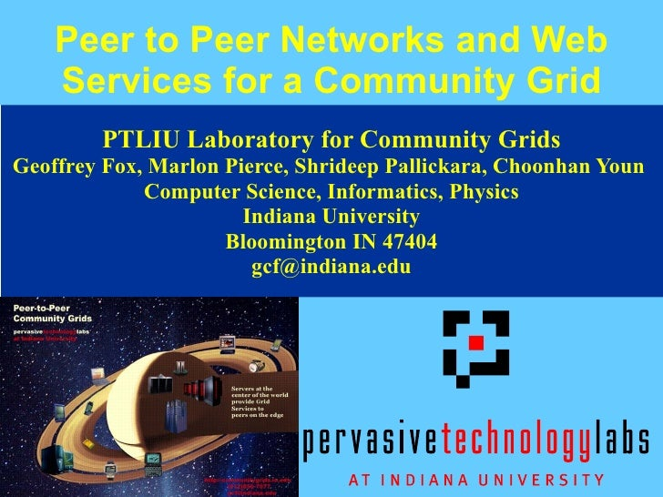 Peer to Peer Networks and Web Services for a Community Grid PTLIU Laboratory for Community Grids Geoffrey Fox, Marlon Pier...