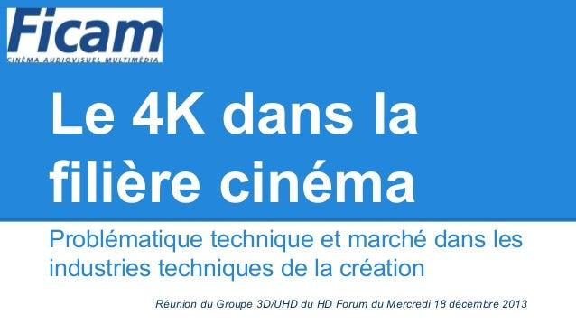 Le 4K dans la filière cinéma Problématique technique et marché dans les industries techniques de la création Réunion du Gr...