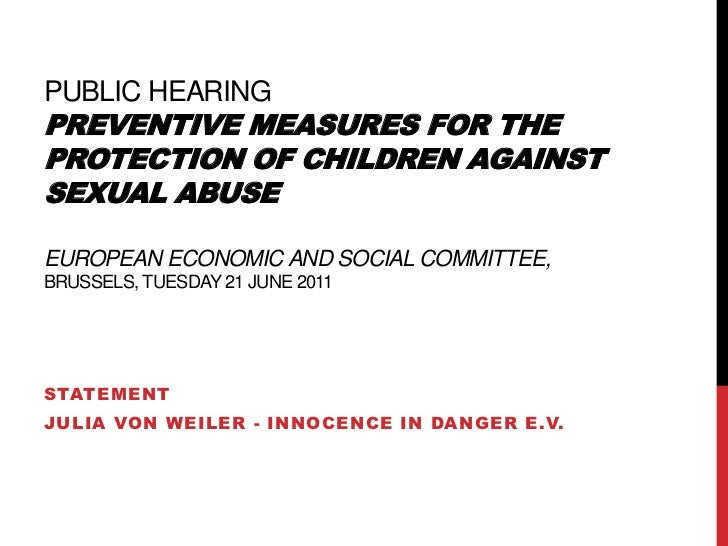 public hearingPreventive measures for the protection of children against sexual abuse  European Economic and Social Commit...