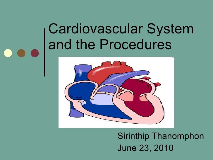 Cardiovascular System and the Procedures Sirinthip Thanomphon June 23, 2010